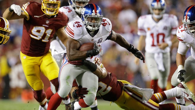 Giants running back Andre Williams will get the start Sunday night against the Eagles in place of the injured Rashad Jennings.