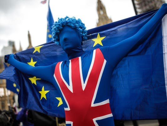 Anti-Brexit Campaigners Protest Outside Parliament As MPs Return From Easter Break