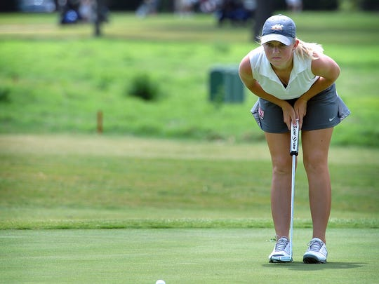 Midwestern State University's Sierra Campbell studies the lay of the number five green at the Wichita Falls Country Club during the NCAA Division II Women's Golf West Super Regional tournament Monday.