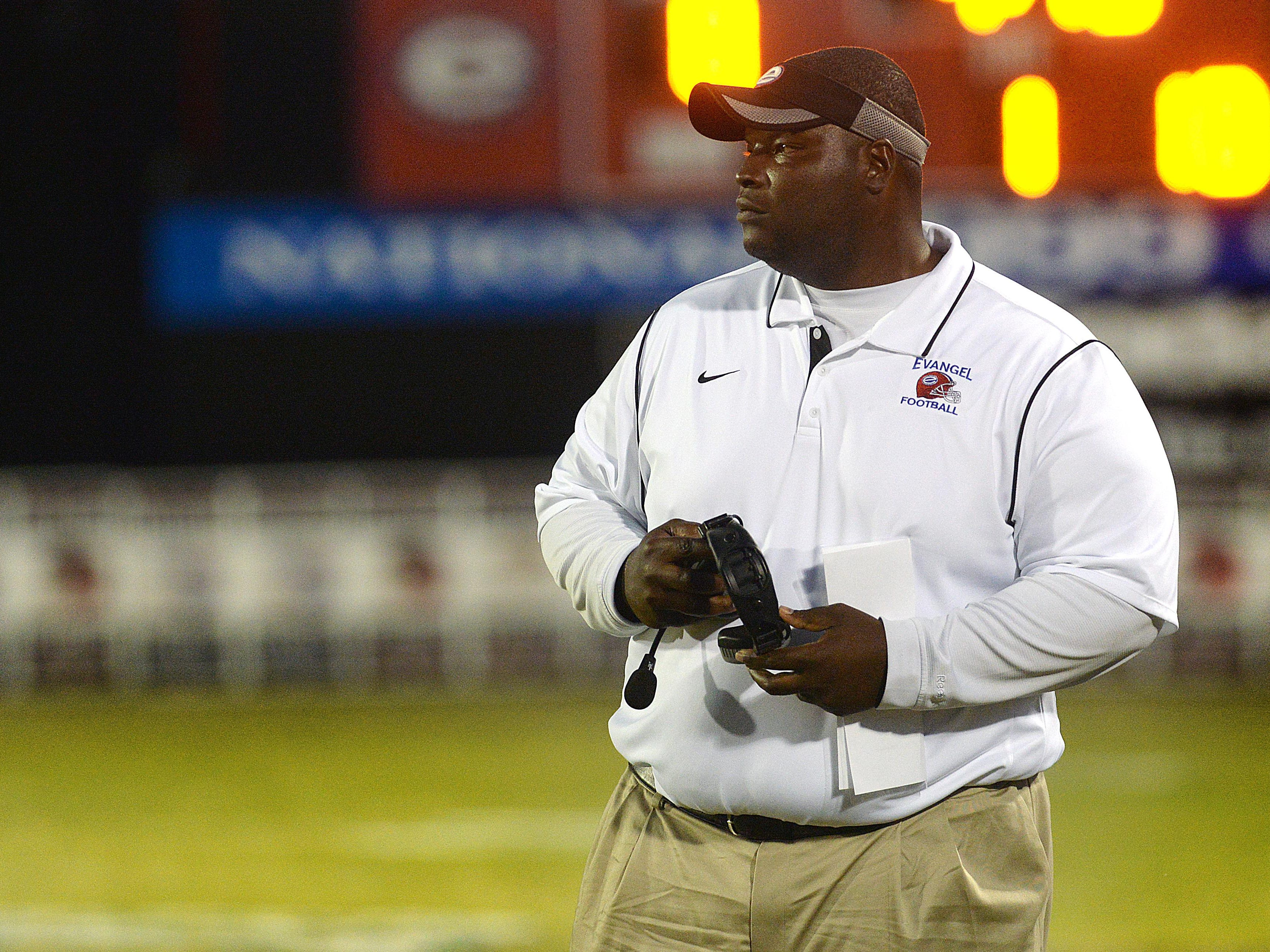File photoEvangel head coach Byron Dawson saw his team shut out Idabel (Oklahoma) on Friday. Evangel head coach Byron Dawson looks on from the sideline of his game against North Webster October 17, 2014.