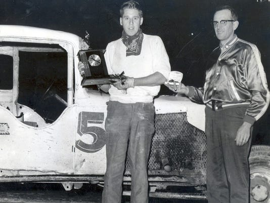 Bill Schroth and his # 5 accepting trophy at angelica Raceway.jpg