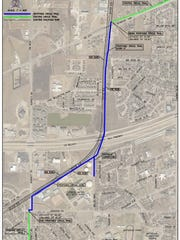 A map shows the proposed trail connection near Seymour Highway and Barnett that would connect portions of the Wichita Falls Circle Trail. Gaining permission to run the trail near the BNSF railroad lines has been a years-long process. Bids for construction of the $2.4-million project are set to be opened Nov. 19.