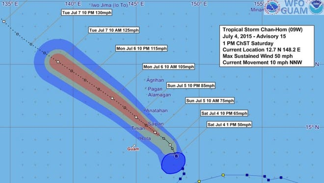 Tropical Storm Chan-hom forecast track and uncertainty graphic issued at 1:50 p.m. July 4.