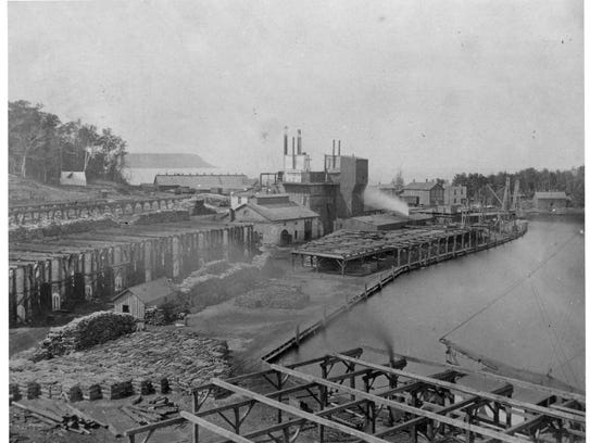 Fayette, MI circa 1870 to 1880. The remaining buildings