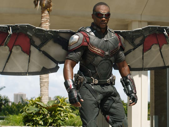"Falcon (Anthony Mackie) in ""Captain America: Civil War."""