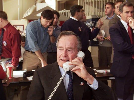 Former President George Bush makes a few phone calls