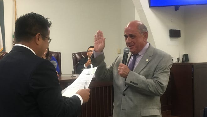 New Coachella City Councilman Steve Brown takes the oath of office on Tuesday, May 30, 2017.