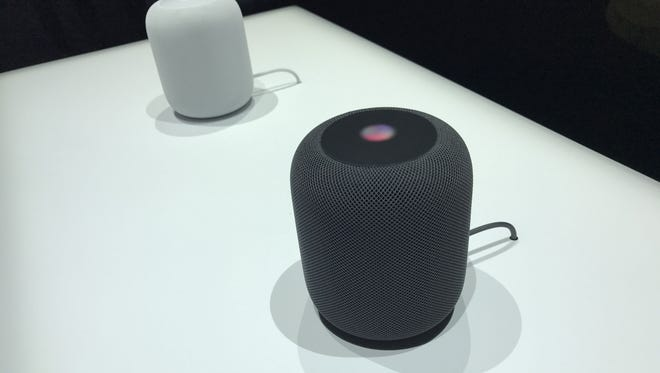 Apple's new HomePod speakers on display at the Worldwide Developer's Conference