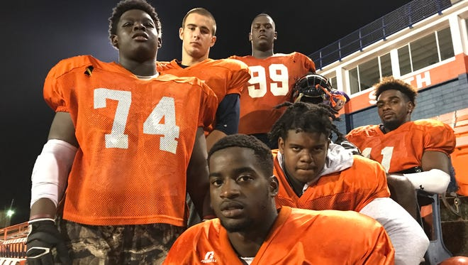 Escambia defensive linemen (back row, L to R) Joe McCormick, Dom Miller, Daishon Folsom, (front row L to R) Keshaun Lewis, Kadderick Teamer and Saqualis Smith all provide the front for one of the area's most intimidating defenses.