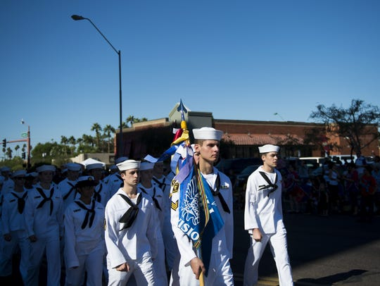 Now in its 22 year, the parade features 2,500 participants and features floats, marching bands and speakers as well as eight Grand Marshalls, representing different eras of military service.