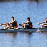 Northville rowers Jake Gourd (front) and Ashwath Muruganand took first in the men's senior doubles April 30 in Grand Rapids.