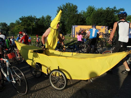 "Mike ""Bananaman"" Knox is shown during the 2010 RAGBRAI after a tire-dip in the Missouri River."