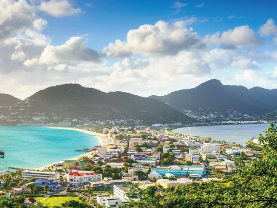 Philipsburg, Sint Maarten, cityscape at the Great Salt