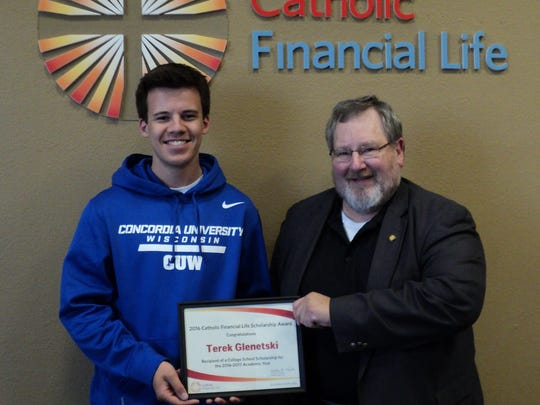 Terek Glenetski received a $1,000 college scholarship for the 2016-2017 school year. Thad Streeter, Catholic Financial Life advisor in Wausau, presented Terek with the scholarship certificate. Terek is the son of James and Tori Glenetski of Wausau, and attends Concordia University in Milwaukee.
