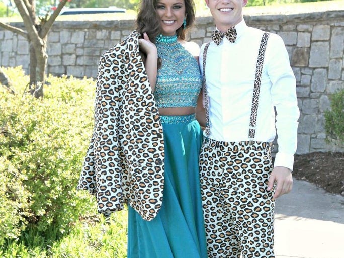 Taylor Ramsey and Alex Degenstein posed together at Bridgemore in Farragut before they went to Greenback High School's prom.