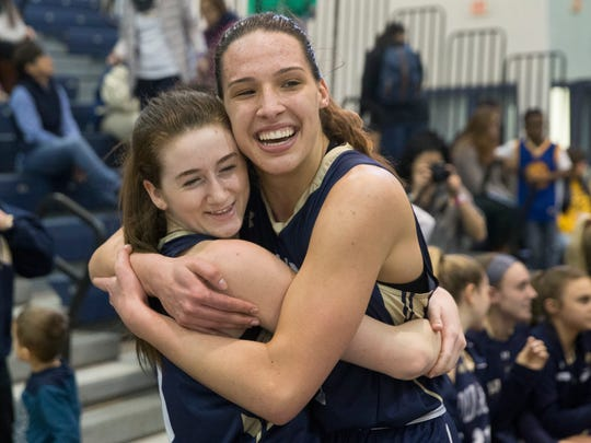 Old Tappan's Noelle Gonzalez and Alexndra George celebrate their team's victory. Old Tappan Girls Basketball vs Ewing in NJSIAA Group III final in Toms River on March 11, 2018