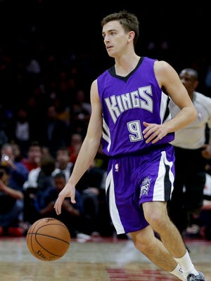 Sacramento guard David Stockton brings the ball up during the second half of an NBA basketball game against the Los Angeles Clippers in February.