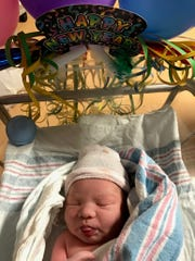 Born Jan. 1, 2017, Jeremy Alexander Liu's hospital bassinet is decorated for the occasion. Jeremy, the son of Lauren and Alex Liu of Bridgewater, joins big sister, Jillian, 2.