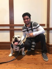 Butler Collegian reporter Jimmy Lafakis and Blue III.