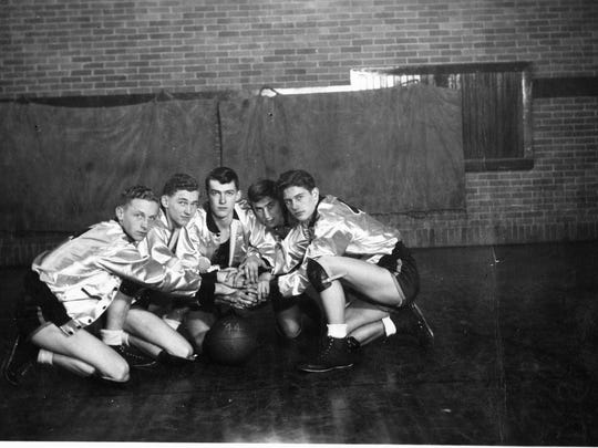Pleasantville High School's basketball team in 1943-44 included, from left, Dale Oatney, Clyde Sayre, Bob Rowles, Richard Spitler and Stanley Lineberger.