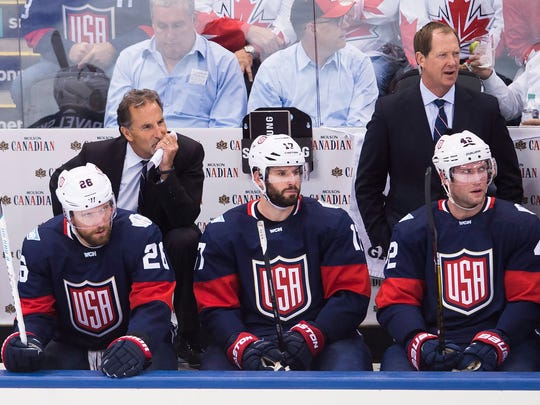 Team USA head coach John Tortorella, back left, and
