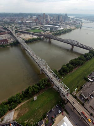 An aerial view of The Brent Spence Bridge that carries traffic from interstates 75 and 71 across the Ohio RIver.