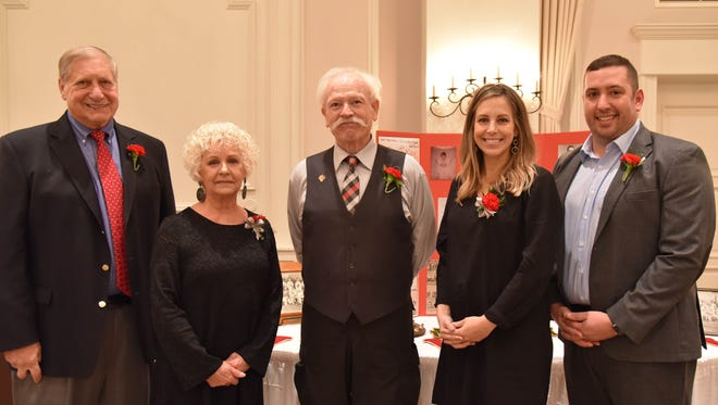 The Vineland High School All-Sports Booster Club inducted five new members for its Hall of Fame on Nov. 21.  From left to right are: Ed Gabriel, Beverly Bonasto (representing Posthumous Inductee Ron Matalucci), Bruce Hofstetter, Kristina Brenner Kulik, and Matt Mufalli.