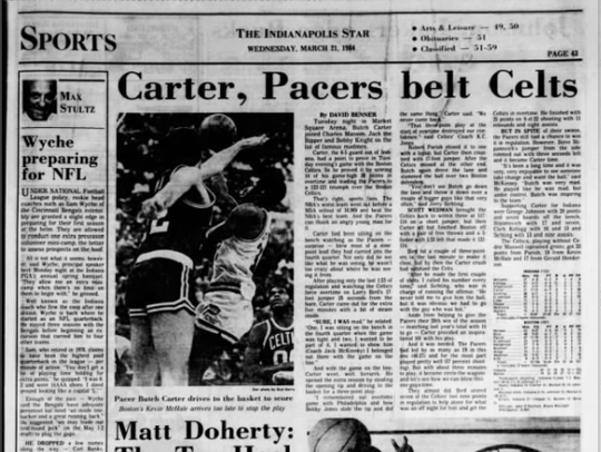 March 21, 1984 IndyStar Sports front