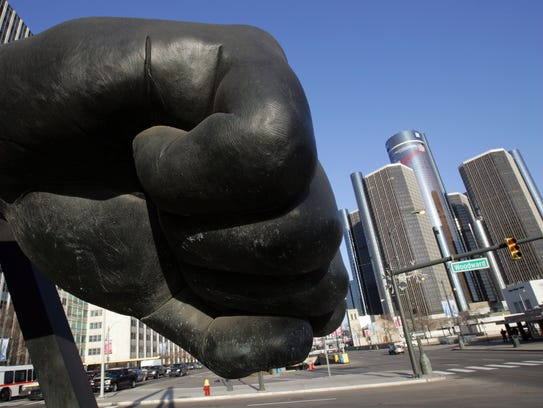 A scale casting of Joe Louis' fist welcomes visitors