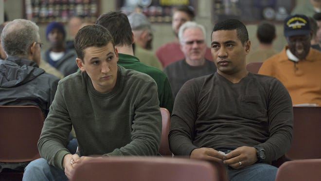 """Miles Teller, left, and Beulah Koale in """"Thank You for Your Service."""""""