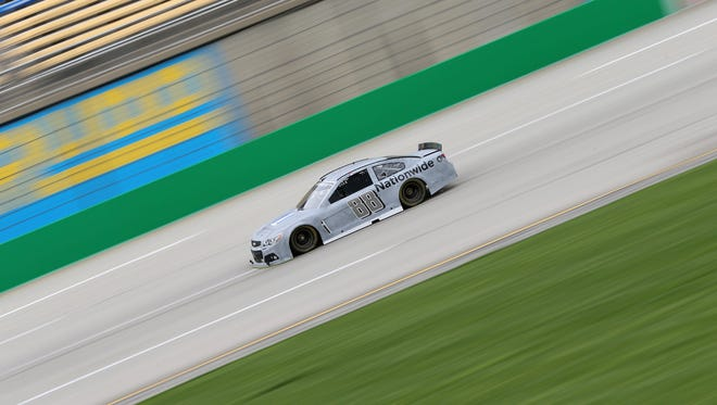 Dale Earnhardt Jr. wheels his car at a Kentucky Speedway test in April.
