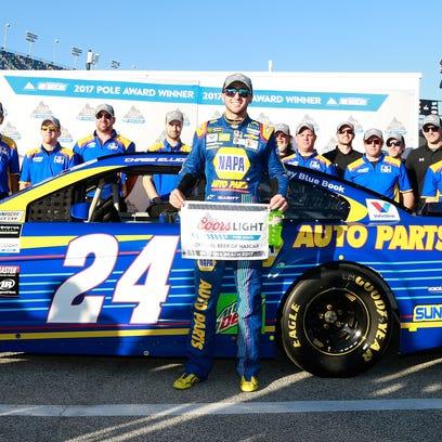 Chase Elliott celebrates with the No. 24 Hendrick Motorsports