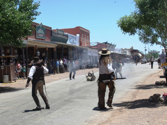 Re-enactors take to the streets during the annual Wyatt Earp Days event in Tombstone.