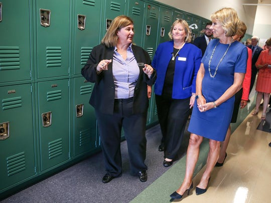 Hope Academy COO Rachelle Gardner, principal Linda Gagyi and U.S. Department of Education Secretary Betsy DeVos tour Hope Academy recovery school in Indianapolis, Friday, Sept. 15, 2017. DeVos made stops in Gary and Indianapolis as part of her Rethink School tour.