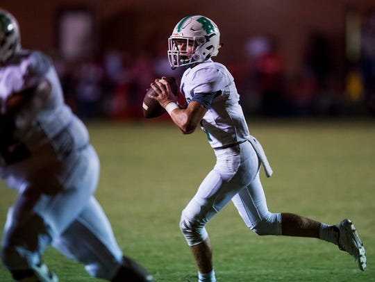 Brantley quarterback Parker Driggers looks to throw