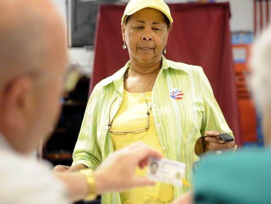 Rita Wilson casts her vote at Bessie Weller Elementary