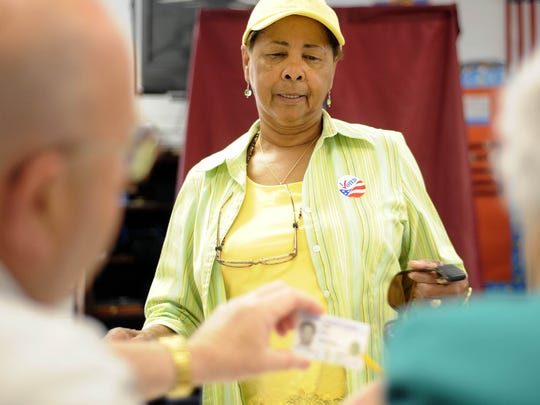 Rita Wilson casts her vote at Bessie Weller Elementary School on Tuesday. Voters and candidates were out at the polls in Staunton on Tuesday, May 4 2010 to vote for city council and school board candidates,