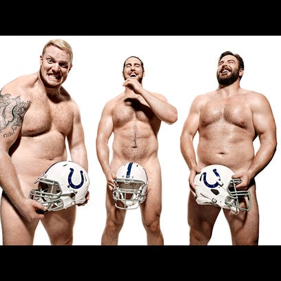 The perfect pose. Colts offensive line from left, Todd Herremans, Jack Mewhort and Anthony Castonzo.