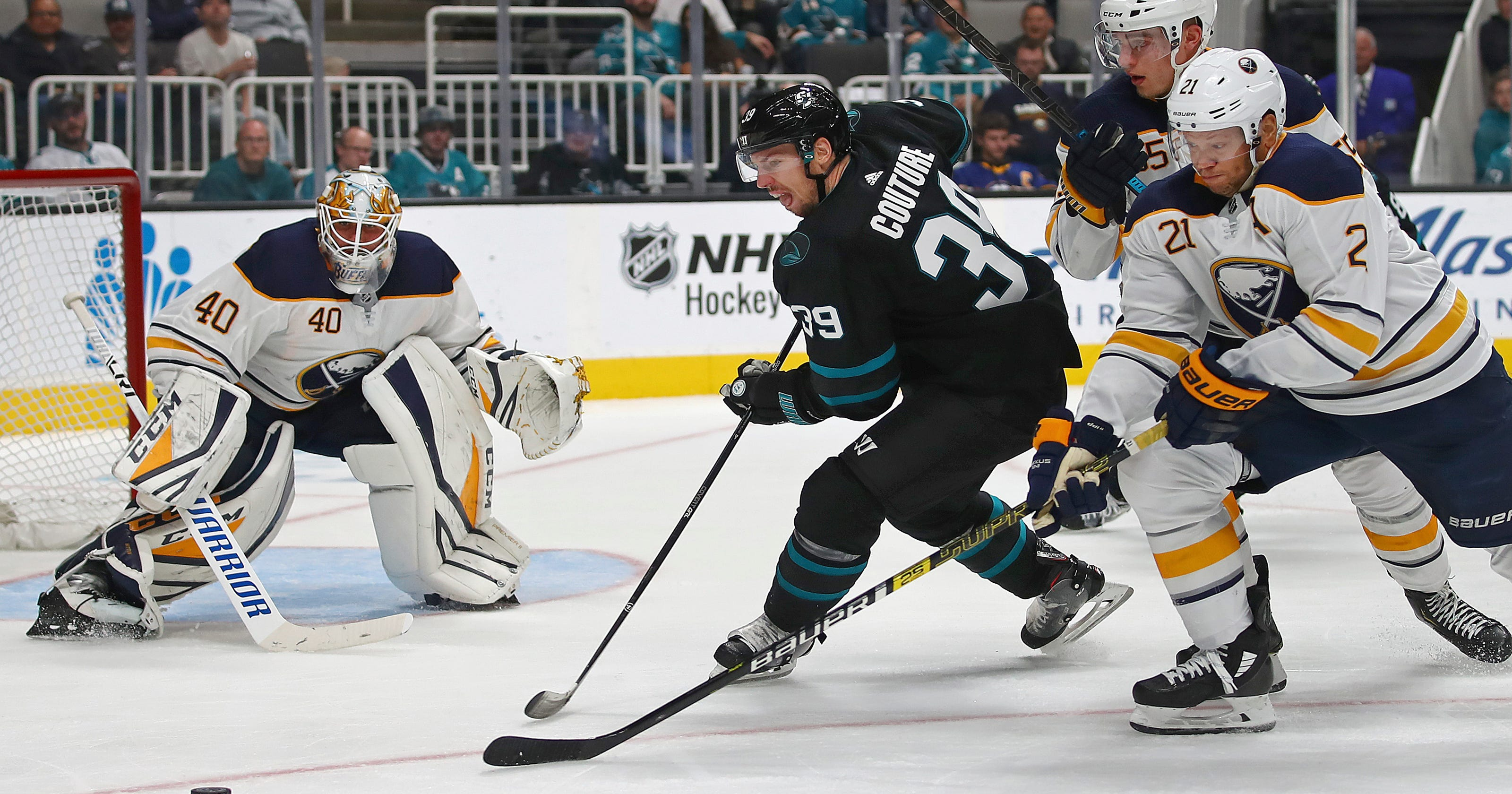 117ac9c2951 Logan Couture has hat trick to lead Sharks past Sabres 5-1