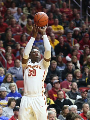 Dec 19, 2015; Des Moines, IA, USA; Iowa State Cyclones guard Deonte Burton (30) shoots against the Northern Iowa Panthers at Wells Fargo Arena. Mandatory Credit: Reese Strickland-USA TODAY Sports
