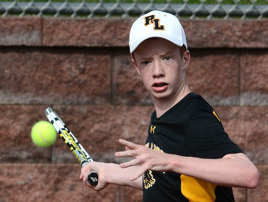 Red Lion's Cameron Wheeler, seen here in a file photo, earned a straight-set singles win on Monday.