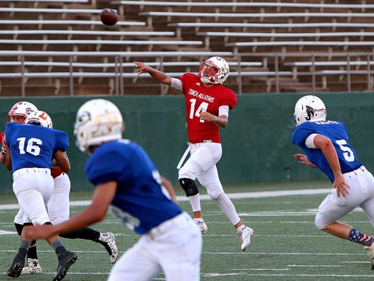 Crowell's Tristen Hayes (14) launches a pass after
