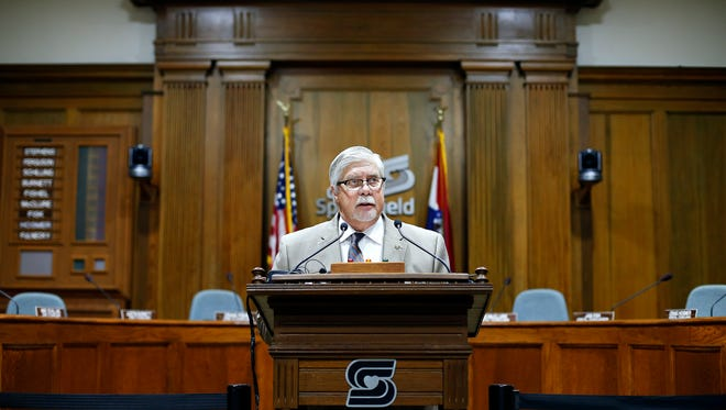 Springfield mayor Robert Stephens held a press conference at City Hall on Oct. 28, 2015 regarding a letter signed by five council members asking for an investigation into whether councilwoman Kristi Fulnecky violated city code and whether she can keep office.