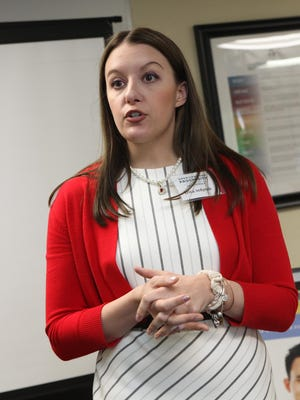 Erica Jedynak, state director for Americans for Prosperity, speaks at an AFP event