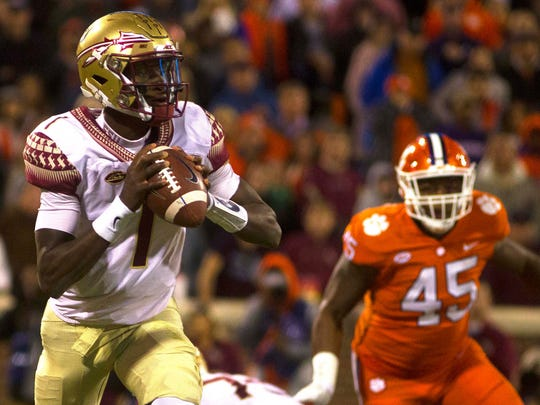 Nov 11, 2017; Clemson, SC, USA; Florida State Seminoles quarterback James Blackman (1) looks to pass the ball during the third quarter of the game against the Clemson Tigers at Clemson Memorial Stadium.