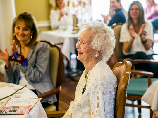 """Carlynn """"Polly"""" Crews, the oldest Gold Star mother in Florida, is honored during a reception for the 90th anniversary of the founding of the American Gold Star Mothers at Villa Memory Care in East Naples on Saturday, March 24, 2018."""