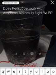 This screen shot from inside Periscope on an iPhone shows my attempted use of the application during a recent American Airlines flight.