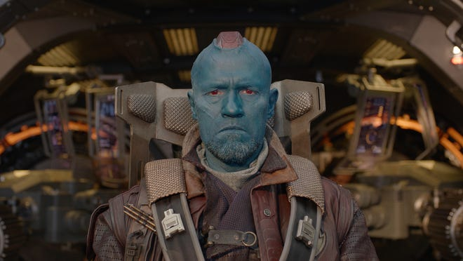 "Yondu (Michael Rooker) is a surrogate father figure to Chris Pratt's Star-Lord in ""Guardians Of The Galaxy."""