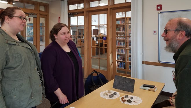 Janna Moser and Stephanie Rubel discus their their book of the month, Remarkable Creatures by Tracy Chevalier at the Stayton Library on Wednesday, March 28, 2018.