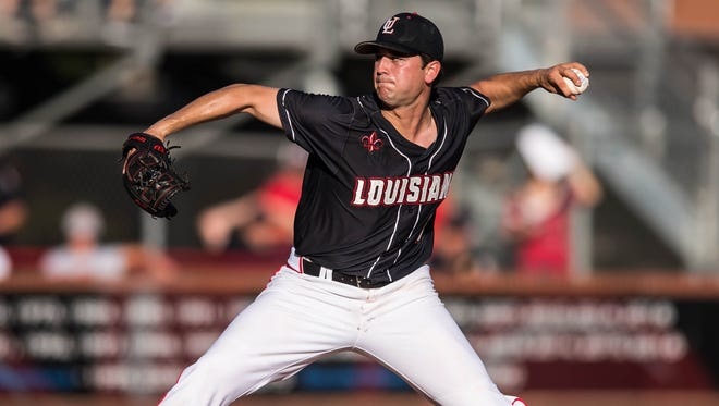 UL pitcher Gunner Leger gets the start for the Cajuns as they play Texas State in the first of a three-game series, Friday May 12, 2017.